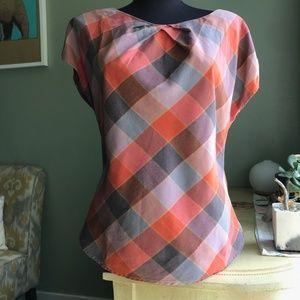 Patagonia Plaid Back Zip Roll Sleeve Top